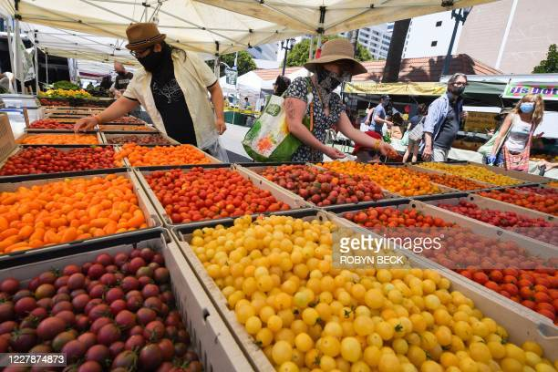 People wearing face coverings shop for tomatoes at the Santa Monica Farmers' Market in Santa Monica, California, August 1, 2020 during the...