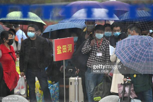 People wearing face masks queue up outside to buy tickets at the railway station in Macheng in Chinas central Hubei province on March 25 2020 China...