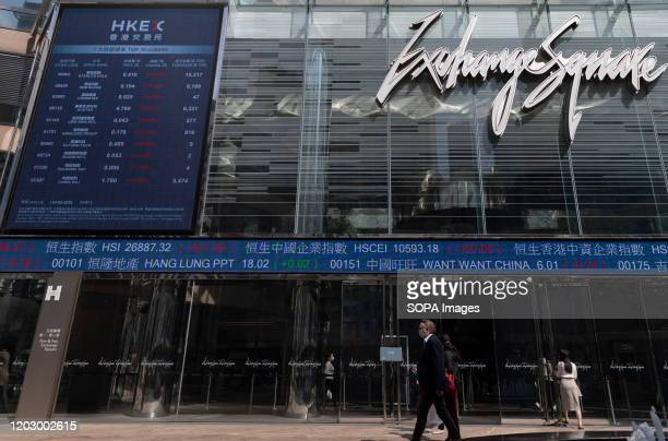 People wearing face masks walk past the stock market board outside Exchange Square Stock markets are falling around the world after sudden escalation...