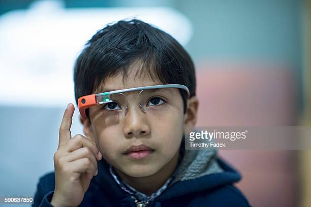 People wearing Google Glass visit Bard Graduate Center of Art in New York experiencing a multimedia presentation as they view the art work in the...