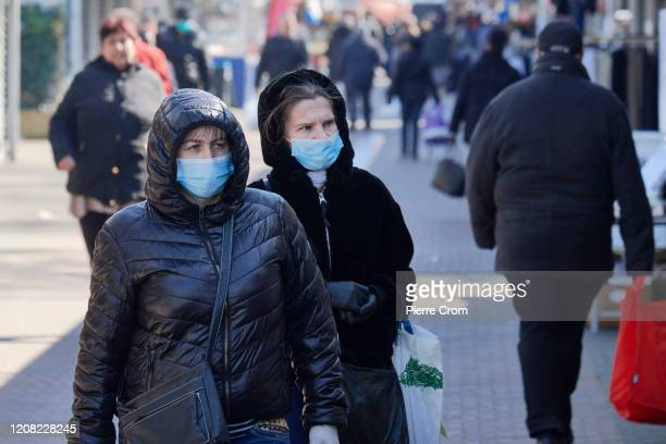 People wearing masks are seen shopping at The Hague market one of the largest market in Europe amid the worsening COVID19 virus pandemic on March 25...