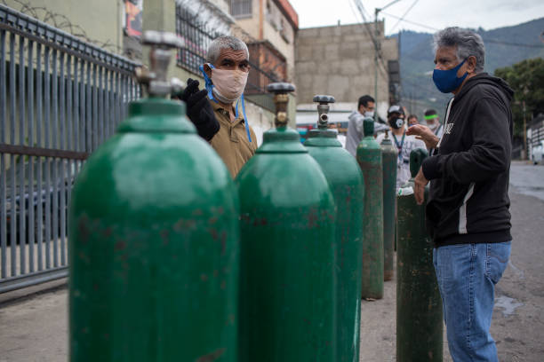 VEN: Residents Wait In Line For Oxygen As Venezuela Sees More Than 177,000 Infections