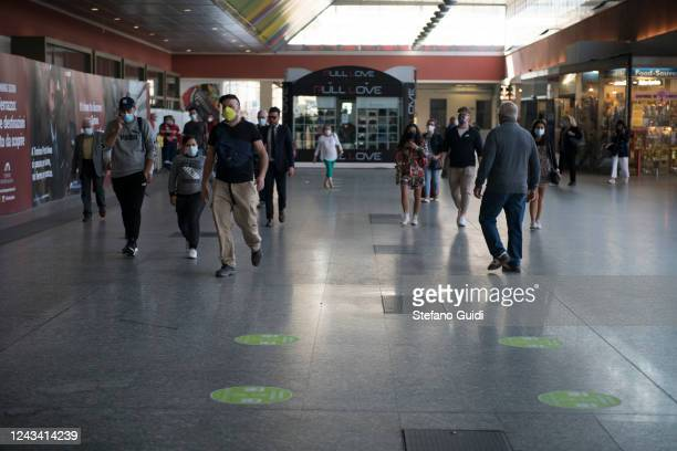 People wearing protective masks walk at the Porta Nuova railway station on June 03 2020 in Turin Italy Today 3 June the Italian government has...