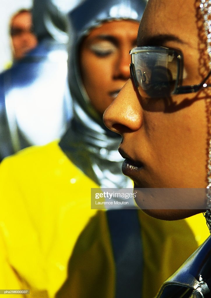 People wearing protective suits, close-up : Stockfoto