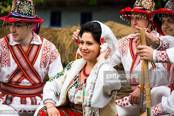 people wearing traditional romanian clothing in bucharest, romania - bucharest stock pictures, royalty-free photos & images