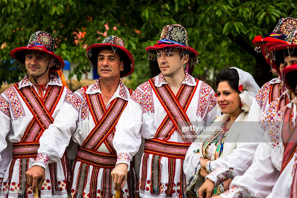 People wearing traditional Romanian clothing in Bucharest, Romania : Stock Photo