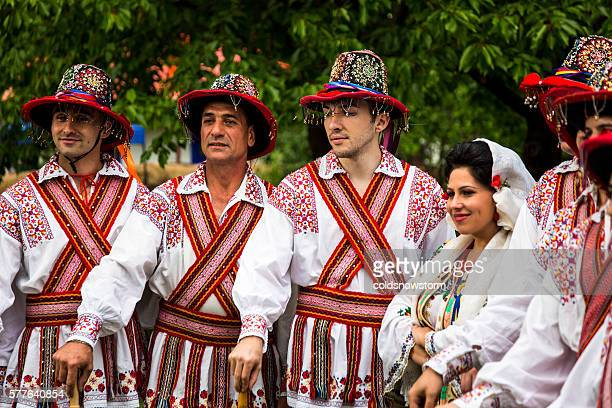 People wearing traditional Romanian clothing in Bucharest, Romania