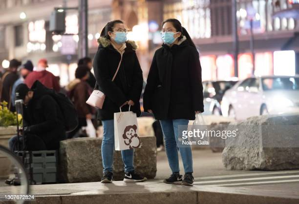 People were face mask in Herald Square amid the coronavirus pandemic on March 17, 2021 in New York City. After undergoing various shutdown orders for...