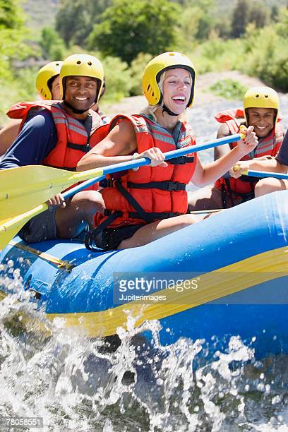 people whitewater rafting - whitewater rafting stock pictures, royalty-free photos & images