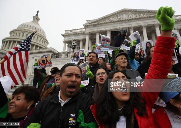 People who call themselves Dreamers protest in front of the Senate side of the US Capitol to urge Congress in passing the Deferred Action for...