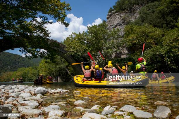 People who do rafting on River Voidomatis on August 15 2018 in Zagori Greece