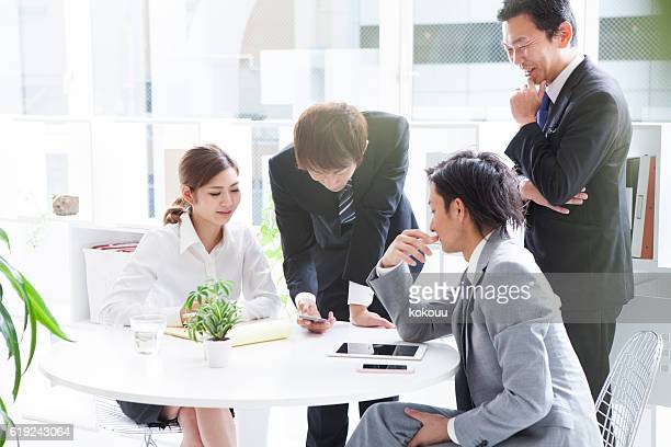 People who have a meeting in the stylish office