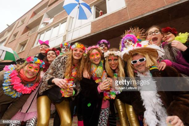 People who wear local carnival costumes gather in the city center for the launch of the 2017 edition of Dunkerque carnival on February 26 2017 in...
