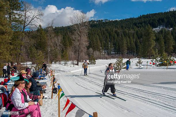 People with disabilities are cross country skiing during a Special Olympics event in Leavenworth Eastern Washington State USA
