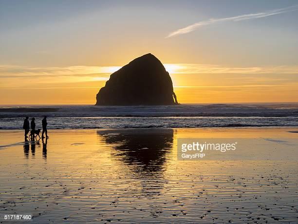 People with Dog Haystack Rock Cape Kiwanda Pacific City Oregon