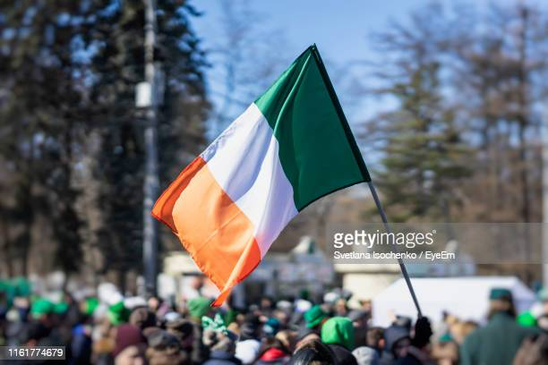 people with flag during protest in city against trees - irish flag stock pictures, royalty-free photos & images
