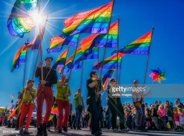 People with flags, Gay Pride Parade, Reykjavik, Iceland