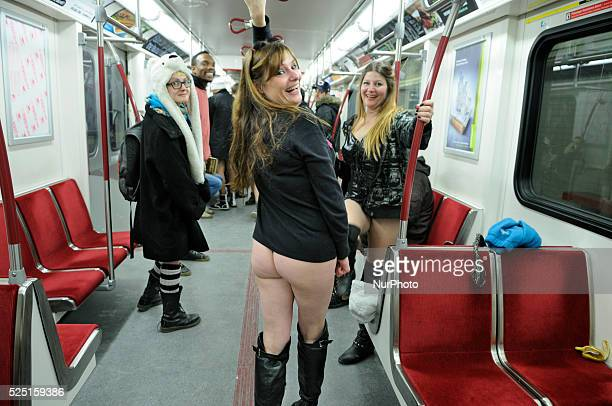 People with No Pants Ride in Toronto, Canada.