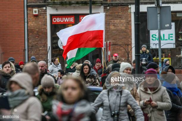 People with Polish flags attending the parade are seen during the Cursed soldiers Day parade on 26 February 2017 in Gdansk Poland The Cursed soldiers...