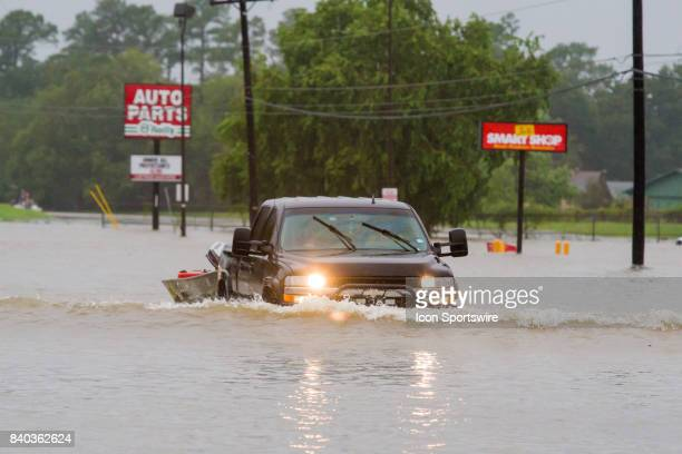 People with small boat are volunteering helping flood victims to dry land during Hurricane Harvey Monday August 28 2017
