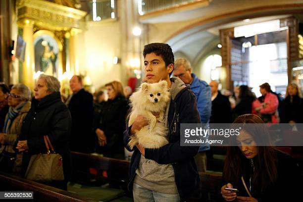 People with their pets attend a mass to get their pets blessed at San Anton Church in Madrid Spain on Saint Anthony's day dedicated to the animals by...