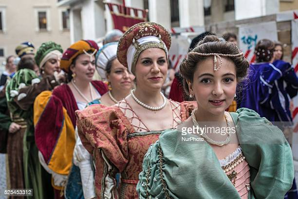 People with typical clothes during the procession of Bubble of Forgiveness in L'Aquila Italy on August 28 2014 The ritual ceremony of the Celestine...