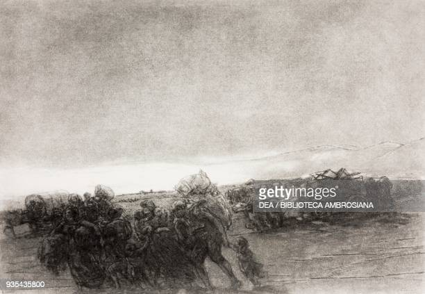 People with wagons on the road having fled their homes, illustration by Gaetano Previati , from The Betrothed, A Milanese story of the 17th century,...