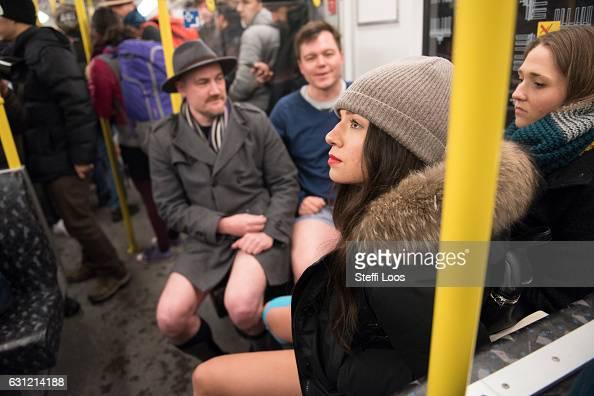 Participants in the No Pants Subway Ride DC, walk through