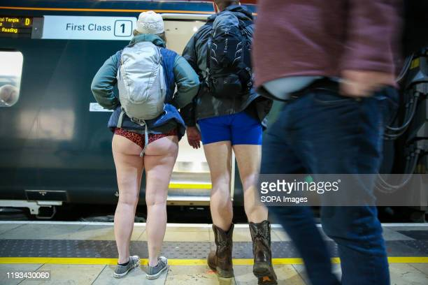 People without trousers are seen at Paddington Station as they take part during the 11th 'No Trousers Tube Ride' event on the London underground. The...