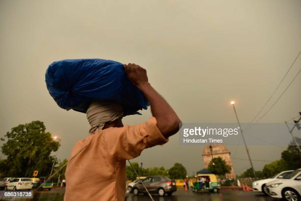 People witnessed heavy rainfall and dust storm on May 21 2017 in New Delhi India Heavy rainfall lashed Delhi/NCR evening bringing down the maximum...