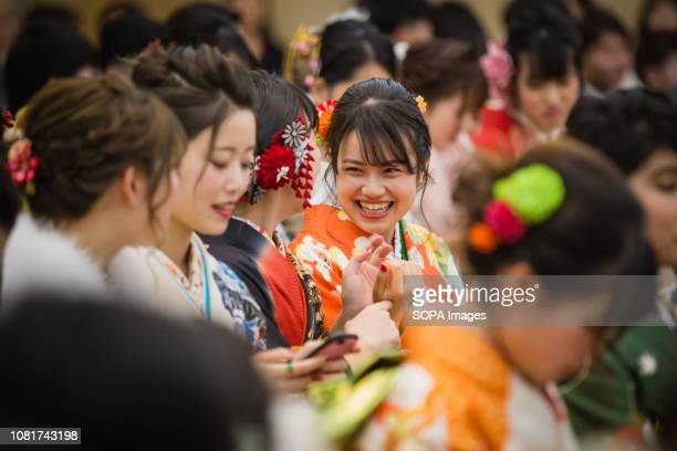 People women wearing kimonos during the ceremony 125 million People celebrated their passage into adulthood on the Coming of Age Day a Japanese...