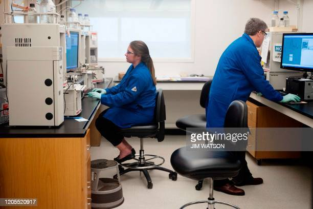 People work at the Centers for Disease Control and Prevention in Atlanta, Georgia, on March 6, 2020.