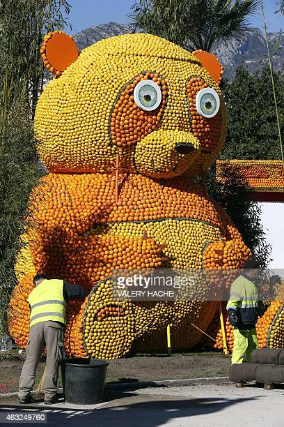 People work on a sculpture made of oranges and lemons on February 12 2015 in Menton on the French Riviera ahead of the start of the 'Fete du Citron'...
