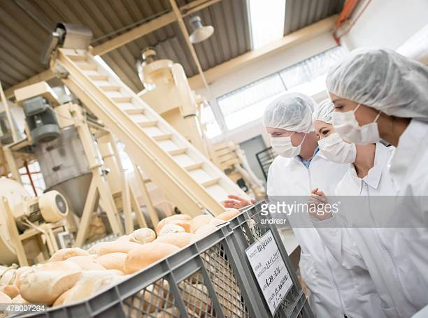People working at a bread factory