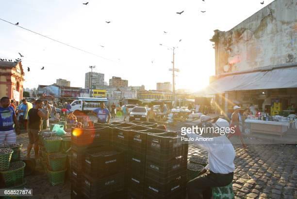 People Working at Acai Market in Belém,Brazil