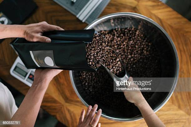 People working in Roastery Filling package