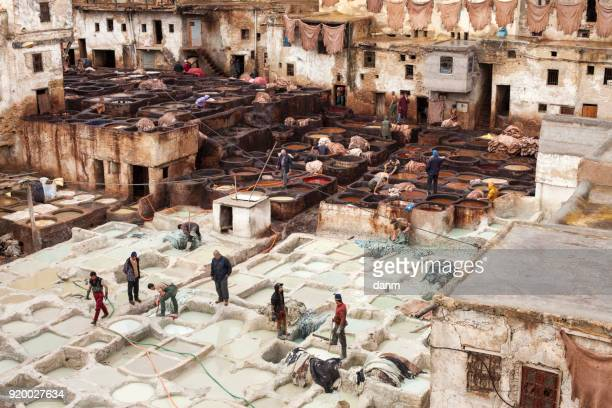 People working in the famous tannery complex of Fes in foul smelling conditions.