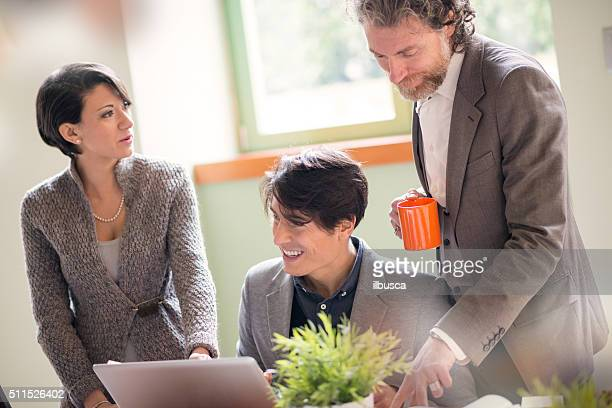 People working in young startup coworking business