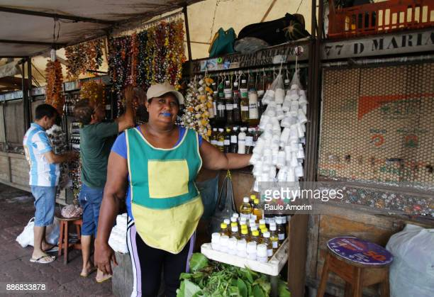 People working medicinal herbs at market in Belém,Brazil