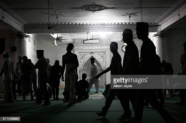 People worship at a Ahmadiyya mosque on March 20 2016 in Dhaka Bangladesh On December 25 a suicide bomber attacked an Ahmadiyya mosque in the...