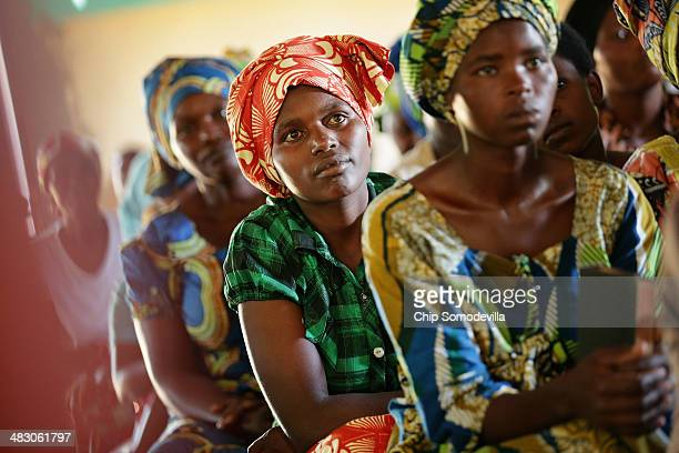 People worship during a Sunday service at the Chapel Mbyo on the eve of the anniversary of the 1994 genocide April 6 2014 in Mybo Rwanda Rwanda is...