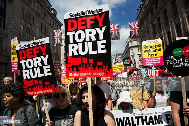 No More Austerity No To Racism Tories Must Go onSaturday July 16th in London United Kingdom Tens of thousands of people gathered to protest in a...