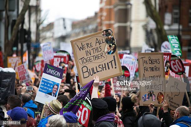Peoples Assembly March for Health Homes Jobs and Education End Austerity Now march 16th April 2016 in London United Kingdom A plackard reads 'We are...