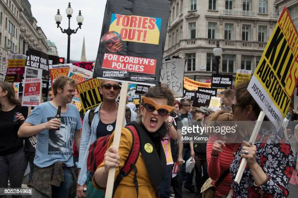 Peoples Assembly National Demonstration Against Theresa May and Austerity Not One Day More Tories Out onSaturday July 1st in London United Kingdom...
