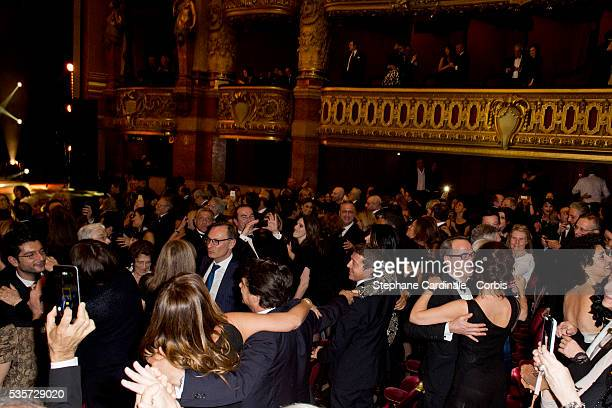 Peoples dance during Weizmann Institute celebrates its 40 Anniversary at Opera Garnier in Paris on January 12 2015 in Paris France