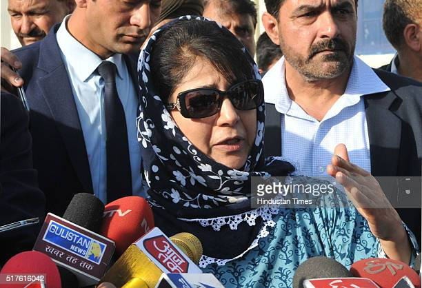 Peoples Democratic Party Chief Mehbooba Mufti addressing media persons after a meeting with Jammu and Kashmir Governor N N Vohra and staked claim for...