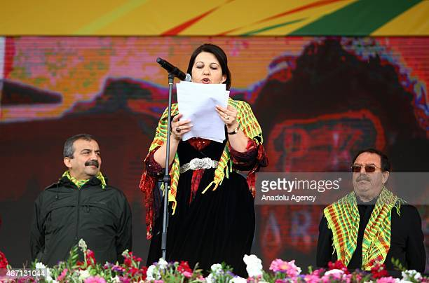 Peoples' Democratic Party deputy chairperson Pervin Buldan reads jailed Kurdistan Workers' Party or PKK leader Abdullah Ocalan's message in the...
