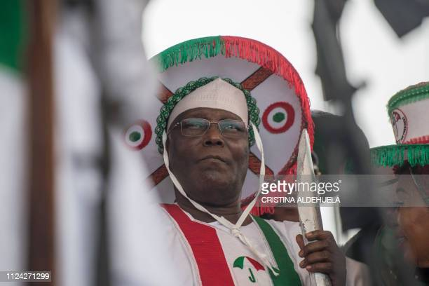 People's Democratic Party presidential candidate for the forthcoming elections in Nigeria Atiku Abubakar holds a rally at Tafawa Balewa square in...