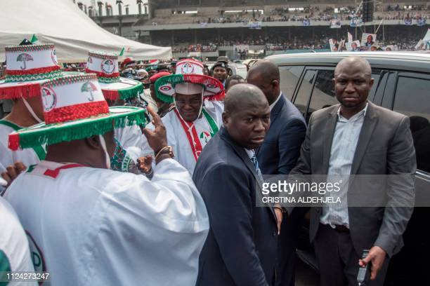 People's Democratic Party presidential candidate for the forthcoming elections in Nigeria Atiku Abubakar arrives to hold a rally at Tafawa Balewa...