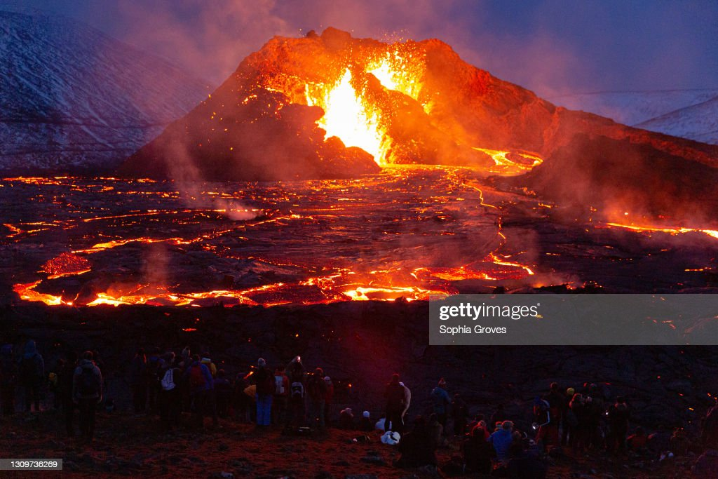 Hikers Flock To See Fagradalsfjall Volcano : News Photo